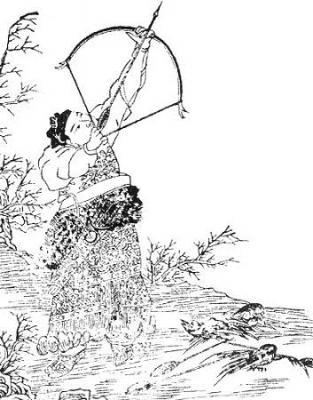 El arquero Yí 羿 disparó a los nueve soles.
