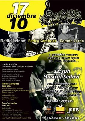 Tres saxos se reúnen: Eladio Reynon, Perico Sambeat y Ramón Cardo
